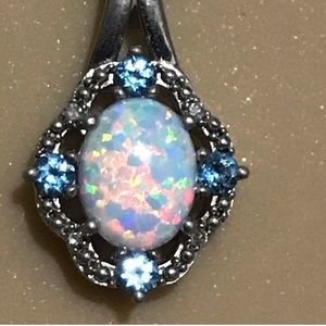 Stunning Opal and Topaz Pendant Necklace.